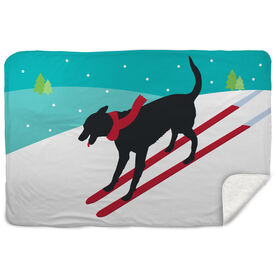 Skiing Sherpa Fleece Blanket - Vintage Dog