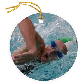 Swimming Porcelain Ornament Custom Swim Photo