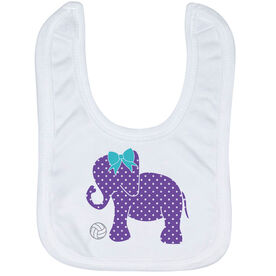 Volleyball Baby Bib - Volleyball Elephant with Bow
