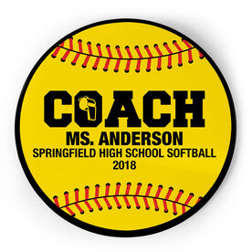 Softball Circle Plaque - Coach With 3 Lines
