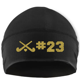 Beanie Performance Hat - Field Hockey Sticks with Heart and Number
