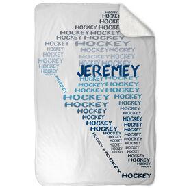 Hockey Sherpa Fleece Blanket Player Words