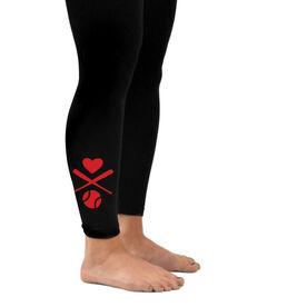 Softball Leggings Heart Crossed Softball Bats