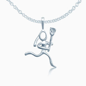 Sterling Silver Lacrosse Girl (Stick Figure) Necklace