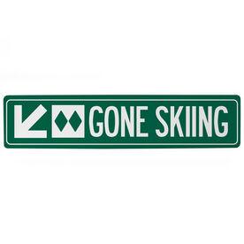 "Skiing Aluminum Room Sign - Gone Skiing (4""x18"")"