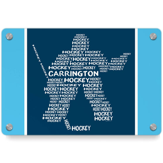 Hockey Metal Wall Art Panel - Personalized Hockey Words Player Goalie
