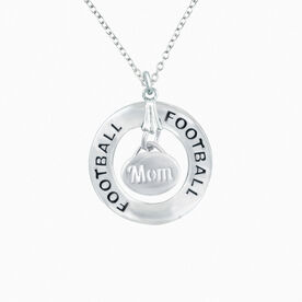 Football Mom Message Ring Necklace