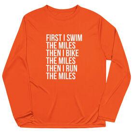 Triathlon Long Sleeve Performance Tee - Swim Bike Run The Miles