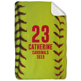 Softball Sherpa Fleece Blanket - Personalized Stitches (Vertical)