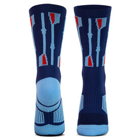 Crew Woven Mid-Calf Socks - Vertical Oars (Navy/Light Blue/Red)