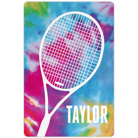 "Tennis Aluminum Room Sign Personalized Tie Dye with Tennis Racket (18"" x 12"")"