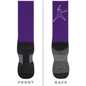 Softball Printed Mid-Calf Socks - Pitcher