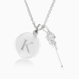 Livia Collection Sterling Silver and Cubic Zirconia Lacrosse Engraved Initial Necklace