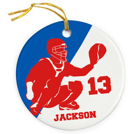 Baseball Porcelain Ornament Personalized Two Color Catcher