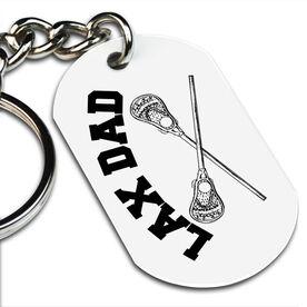 Lacrosse Printed Dog Tag Keychain Lacrosse Crossed Sticks Lax Dad