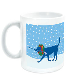 Hockey Coffee Mug Howe the Hockey Dog with Christmas
