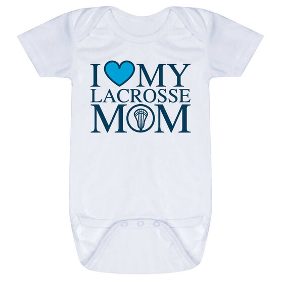 Guys Lacrosse Baby One-Piece - I Love My Lacrosse Mom