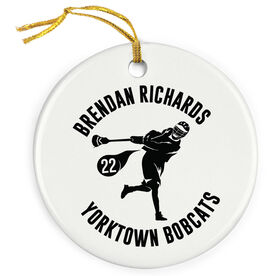 Guys Lacrosse Porcelain Ornament Personalized Player and Team Name with Silhouette