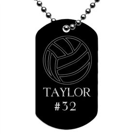 Engraved Personalized Volleyball Dog Tag Necklace