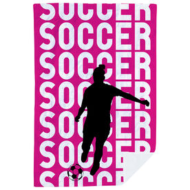 Soccer Premium Blanket - Soccer Girl Silhouette with Words