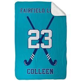 Field Hockey Sherpa Fleece Blanket Personalized Field Hockey Team With Crossed Sticks