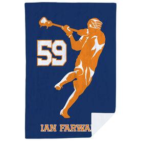 Guys Lacrosse Premium Blanket - Personalized Jump Shot Silhouette