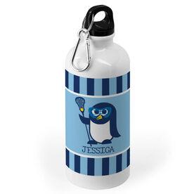 Girls Lacrosse 20 oz. Stainless Steel Water Bottle - Personalized Lax Penguin