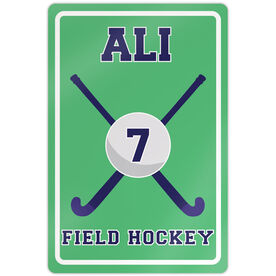 "Field Hockey 18"" X 12"" Aluminum Room Sign Personalized Field Hockey Ball And Sticks"