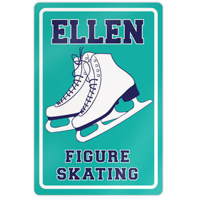 "Figure Skating 18"" X 12"" Aluminum Room Sign Personalized Name With Figure Skates"