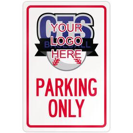 """Baseball Aluminum Room Sign Custom Baseball Logo Parking Only (18"""" X 12"""")"""