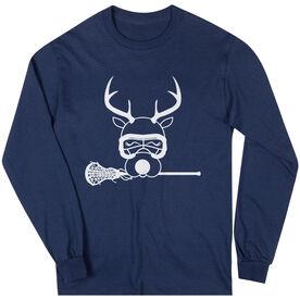 Girls Lacrosse Long Sleeve T-Shirt - Lax Girl Reindeer