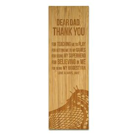 "Guys Lacrosse 12.5"" X 4"" Engraved Bamboo Removable Wall Tile - Dear Dad"