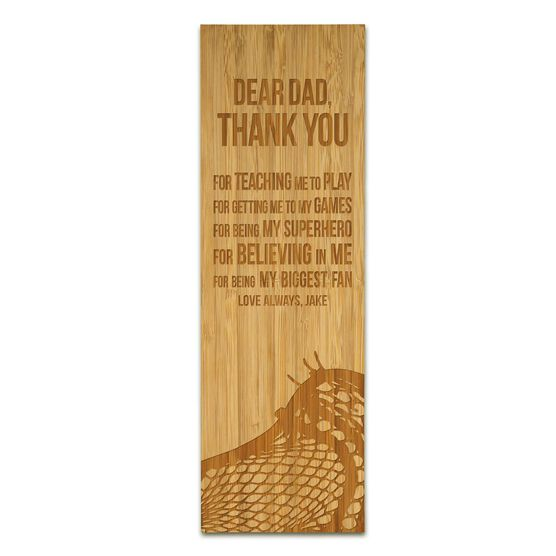 """Guys Lacrosse 12.5"""" X 4"""" Engraved Bamboo Removable Wall Tile - Dear Dad"""