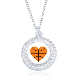 Basketball Braided Circle Necklace - Ball Heart