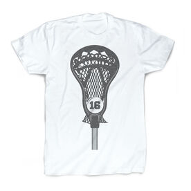 Guys Lacrosse Vintage T-Shirt - Personalized Stick Head