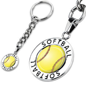 Softball Circle Keychain Stitched Softball Graphic
