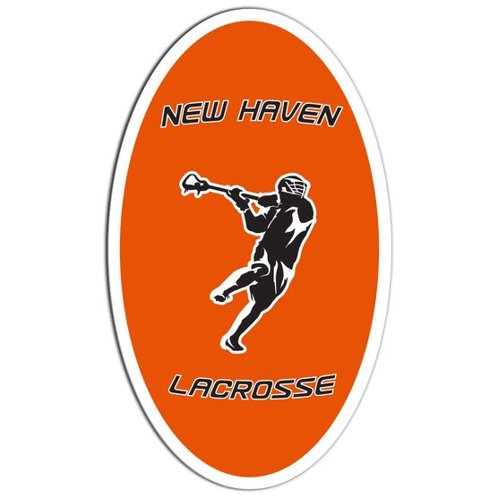 Guys Lacrosse Oval Car Magnet Personalized Overhand Rip
