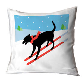 Skiing Throw Pillow - Vintage Dog