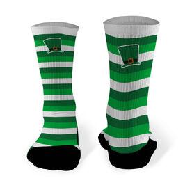 Printed Mid Calf Socks Leprechaun Hat with Stripes