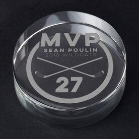 Hockey Personalized Engraved Crystal Puck - MVP Award