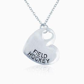Sport Heart - FIELD HOCKEY Silver  Necklace