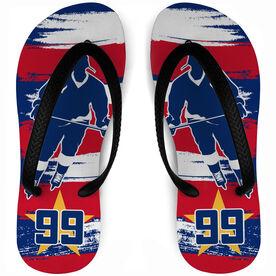 Hockey Flip Flops Personalized Patriot