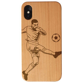 Soccer Engraved Wood IPhone® Case - Guy Kicking