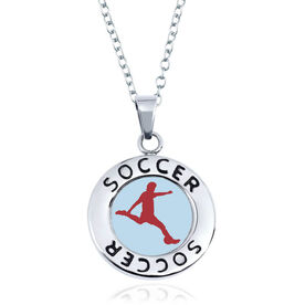Soccer Circle Necklace - Male Player Silhouette