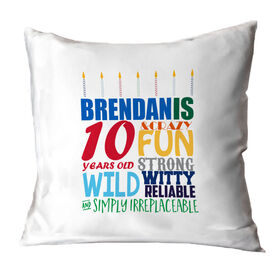 Personalized Throw Pillow - Birthday Cake Adjectives(guy)
