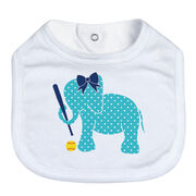 Softball Baby Bib - Softball Elephant with Bow