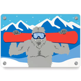 Snowboarding Metal Wall Art Panel - Yeti