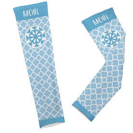 Skiing & Snowboarding Printed Arm Sleeves - Personalized Snowflake Quatrefoil Pattern