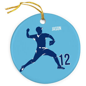 Baseball Porcelain Ornament Personalized Pitcher Silhouette