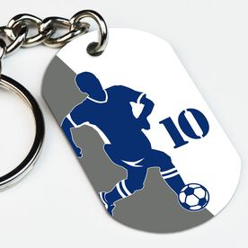 Soccer Printed Dog Tag Keychain Personalized Soccer Player Silhouette Guy